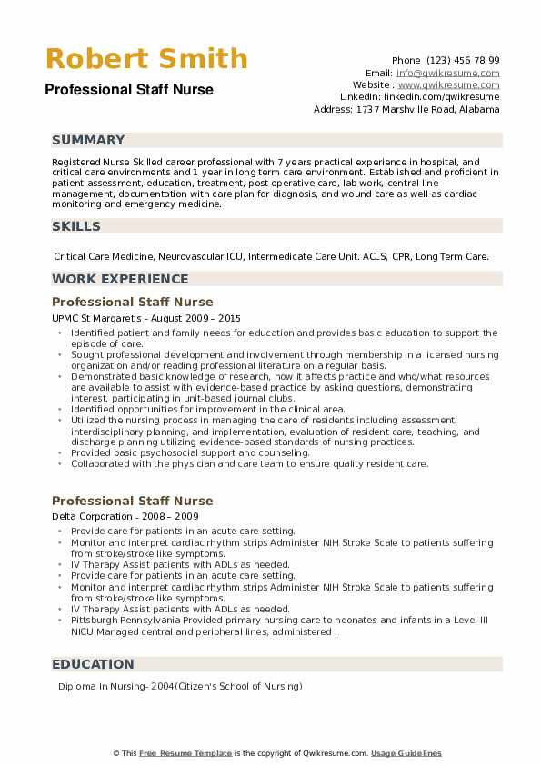 Professional Staff Nurse Resume example