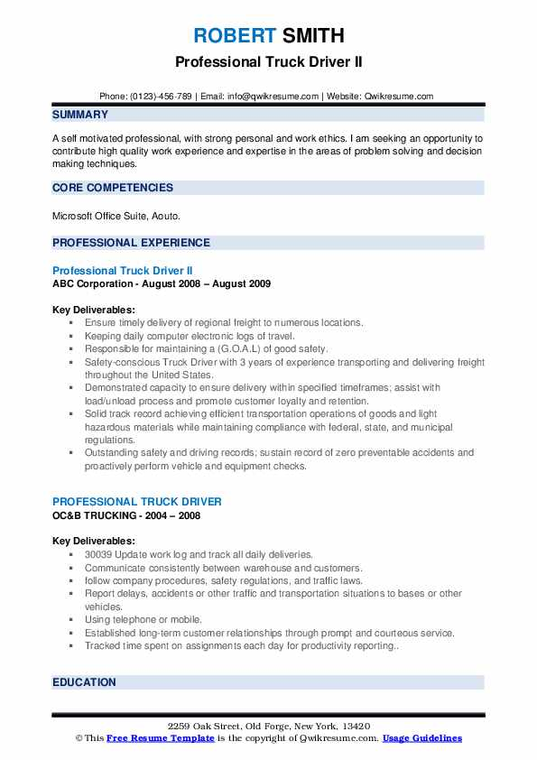 Professional Truck Driver II Resume Format