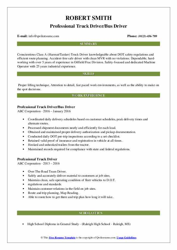 Professional Truck Driver/Bus Driver Resume Sample