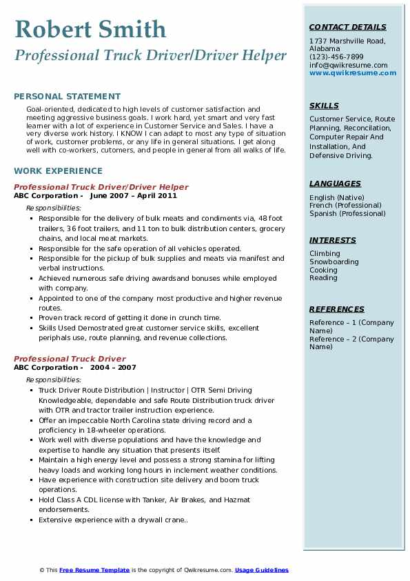 Professional Truck Driver/Driver Helper Resume Example