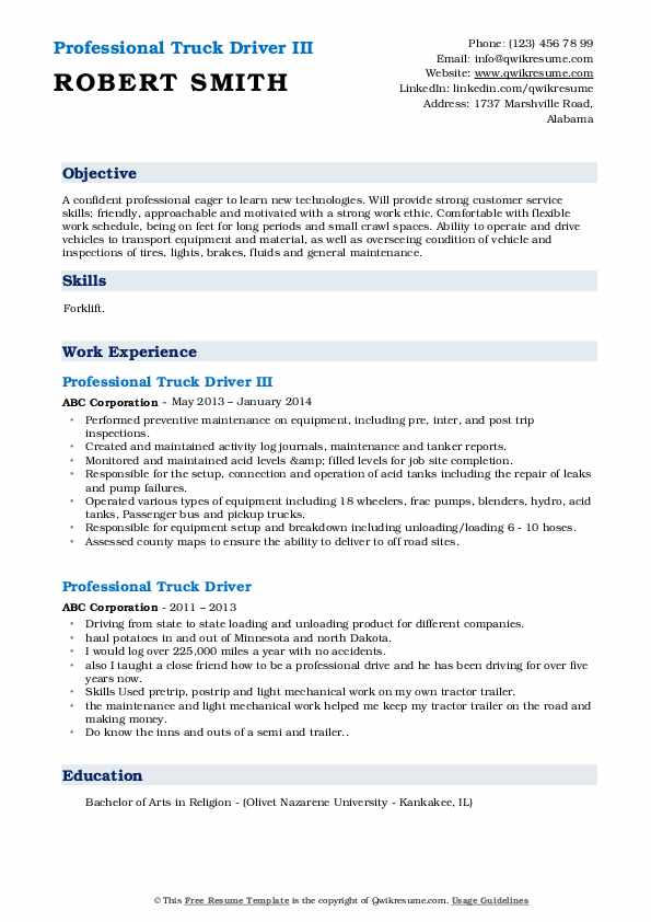 Professional Truck Driver III Resume Example