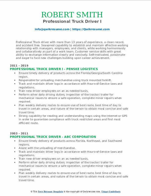 Professional Truck Driver I Resume Template