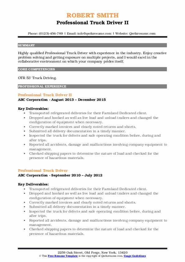 Professional Truck Driver II Resume Sample