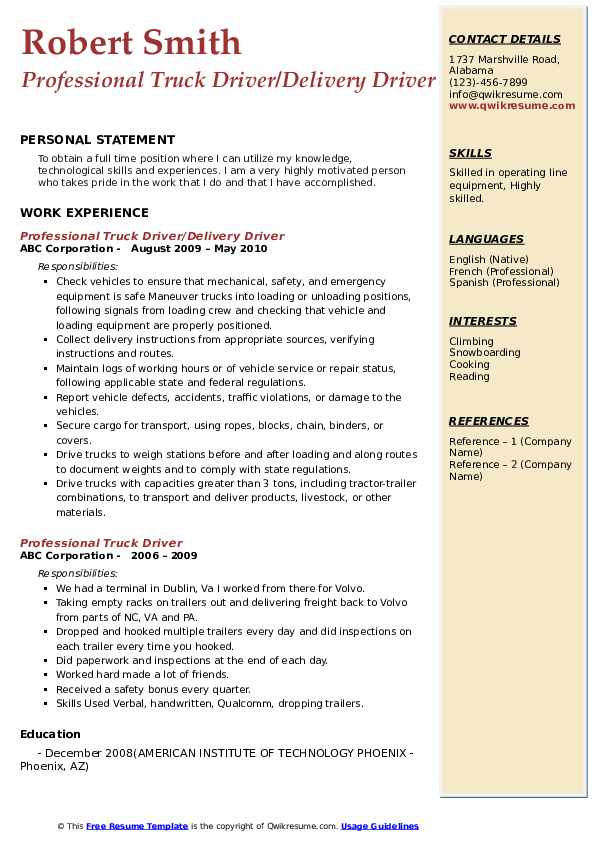 Professional Truck Driver/Delivery Driver Resume Template