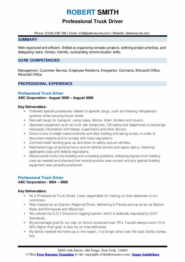 Professional Truck Driver Resume example