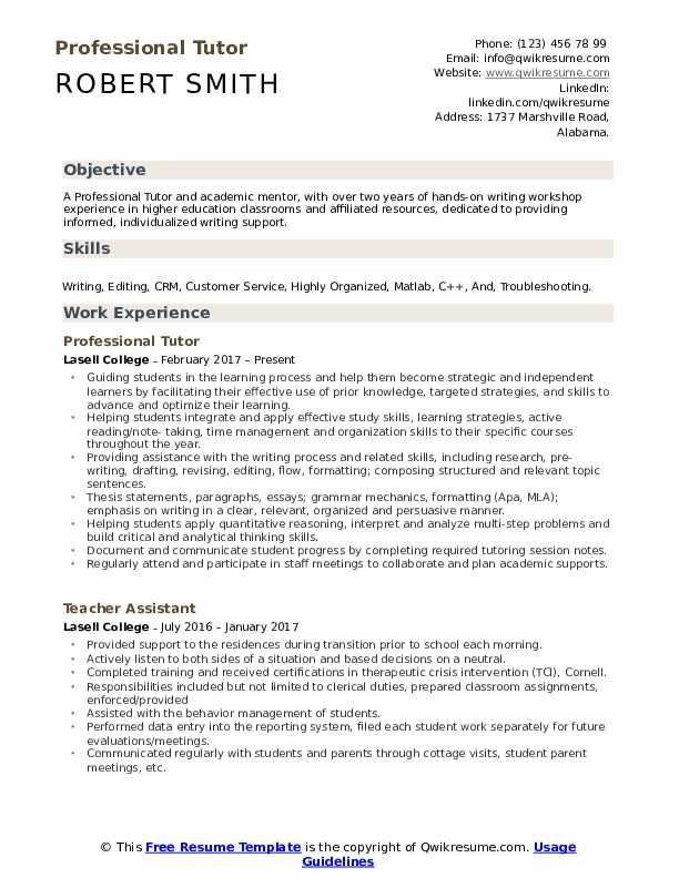 Professional Tutor Resume Sample