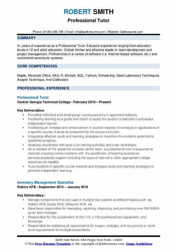professional tutor resume samples