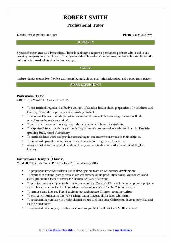 Professional Tutor Resume Format