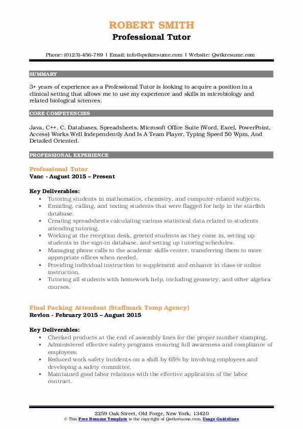 Professional Tutor Resume Template