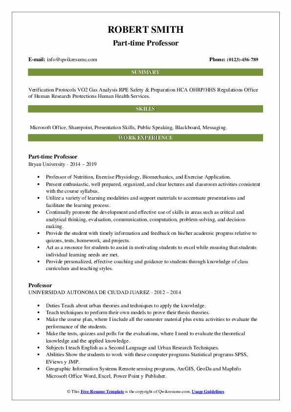 Part-time Professor Resume Model