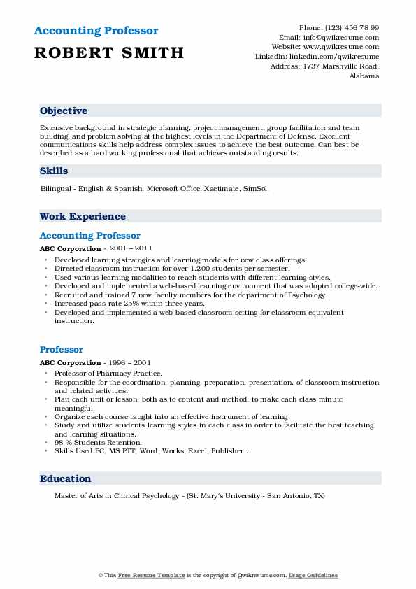 Accounting Professor  Resume Model