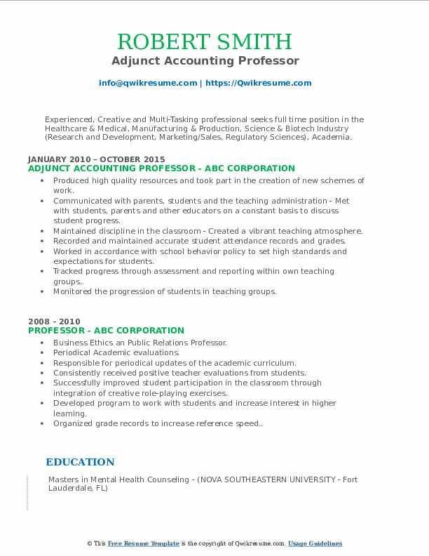 Adjunct Accounting Professor Resume Format