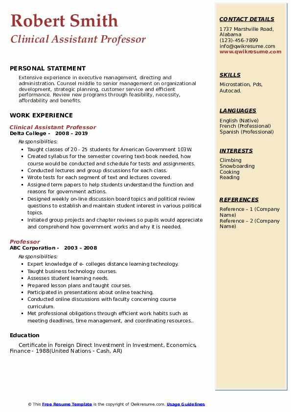 Clinical Assistant Professor Resume Example