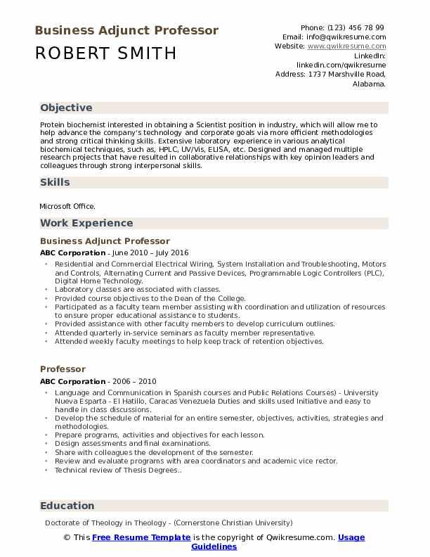 Business Adjunct Professor Resume Format