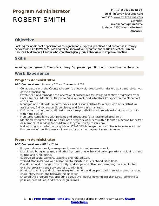 Program Administrator Resume Model