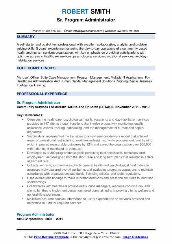 Sr. Program Administrator Resume Sample