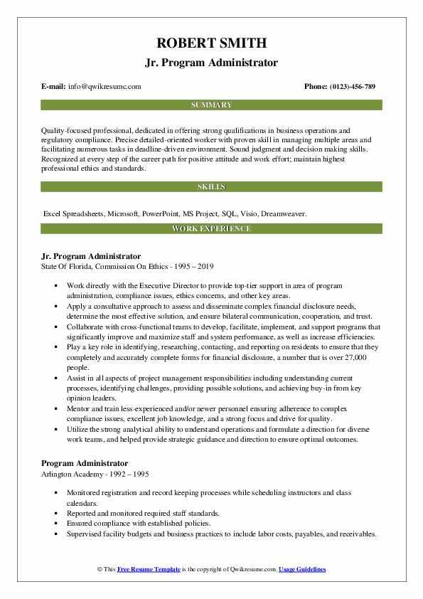 Jr. Program Administrator Resume Format