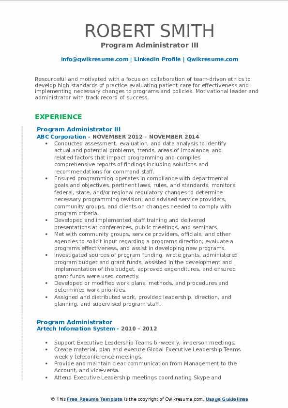 Program Administrator III Resume Template