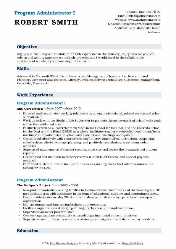 Program Administrator I Resume Example