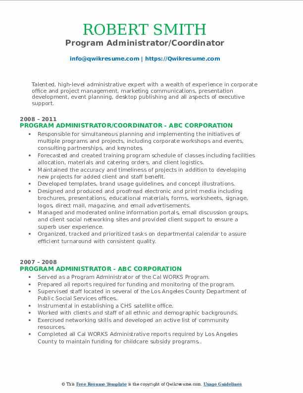 Program Administrator/Coordinator Resume Model
