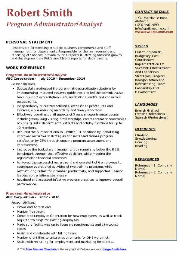 Program Administrator/Analyst Resume Template