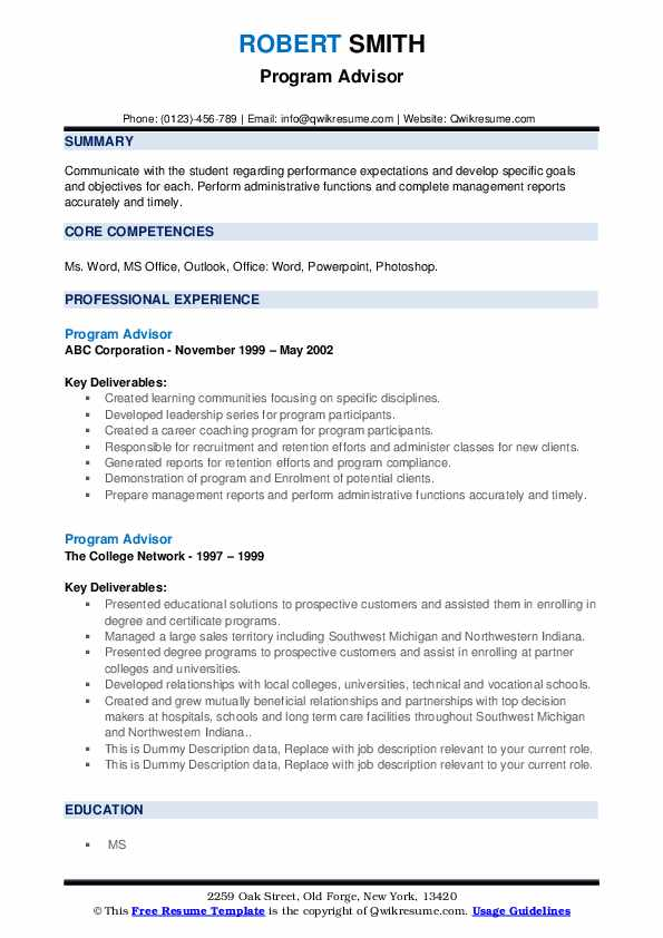 Program Advisor Resume example