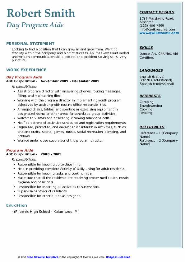 Day Program Aide Resume Model