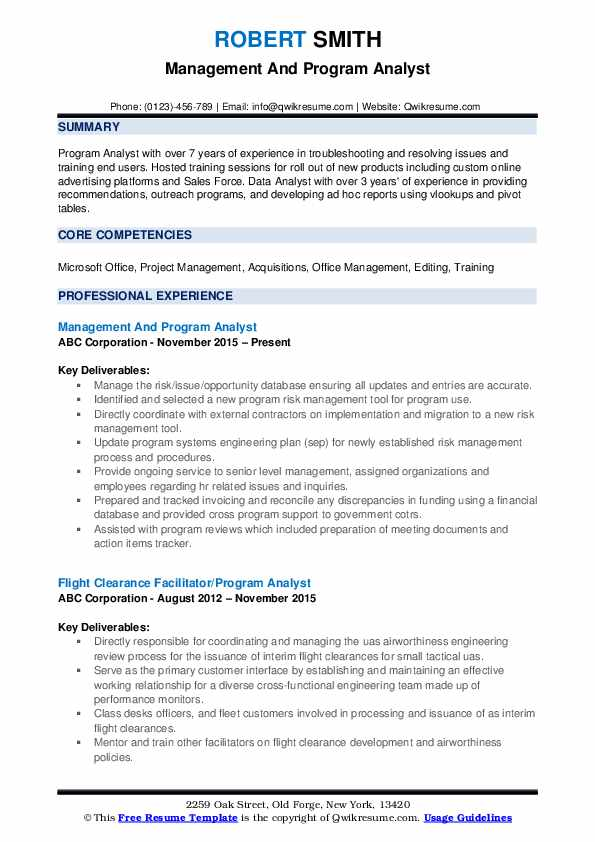 Management And Program Analyst Resume Format