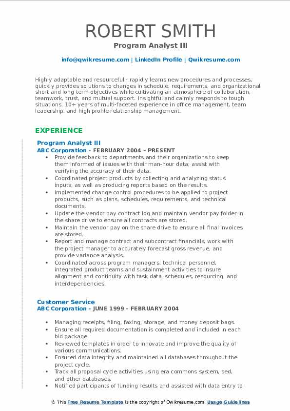 Program Analyst III Resume Format