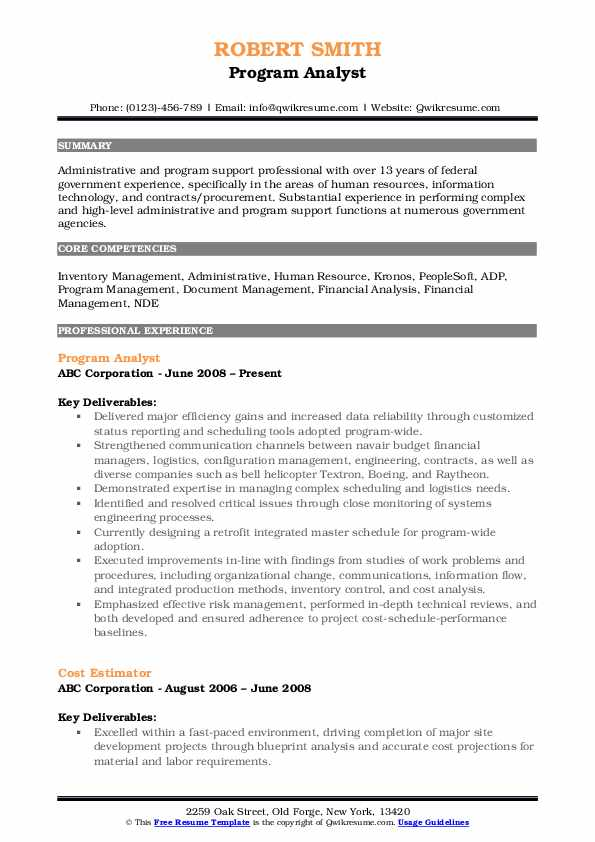 Program Analyst Resume Sample