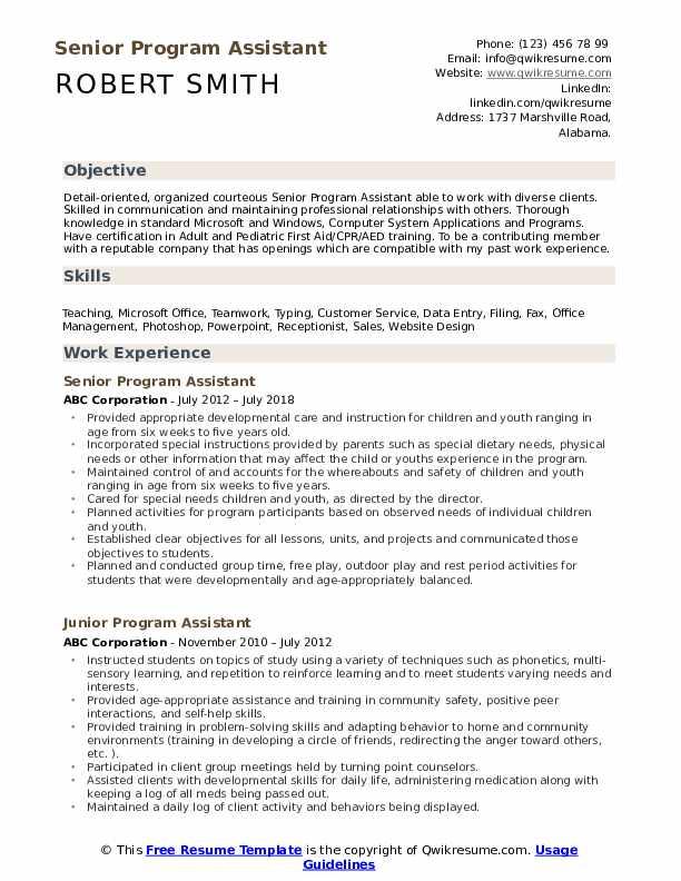 Senior Program Assistant Resume Format