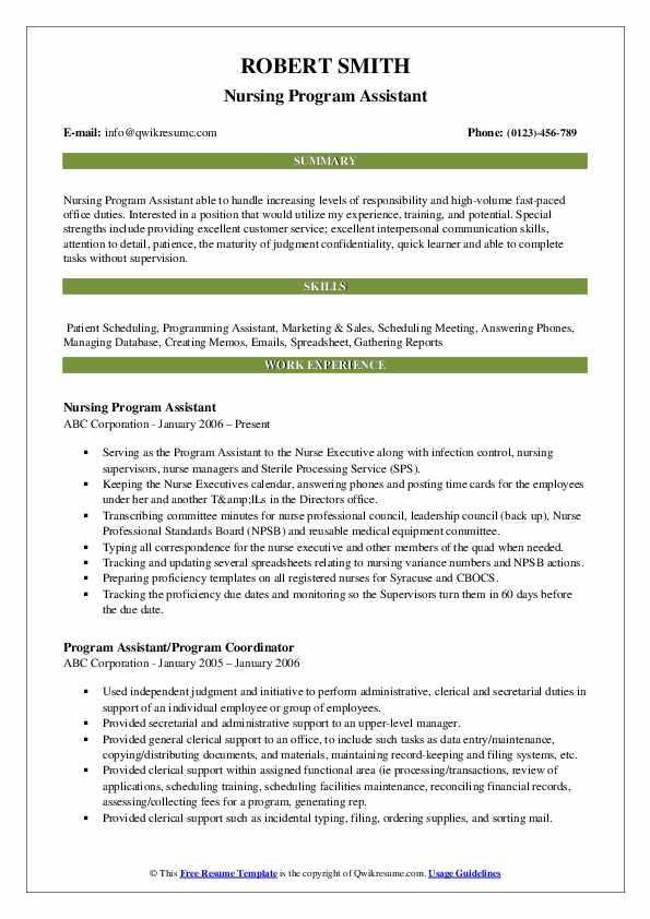 Nursing Program Assistant Resume Sample