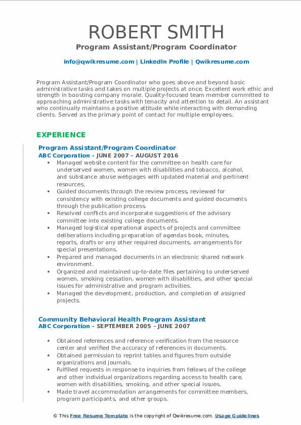 Program Assistant/Program Coordinator Resume Example