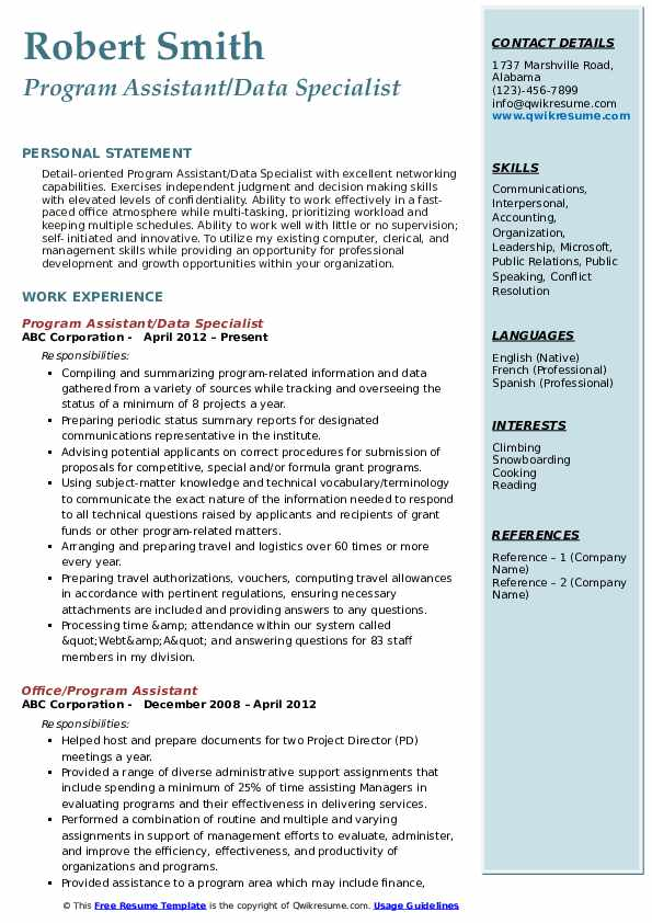 Program Assistant/Data Specialist Resume Template