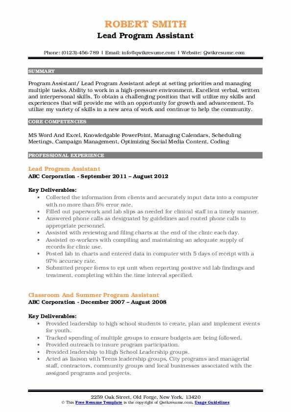 Lead Program Assistant Resume Sample