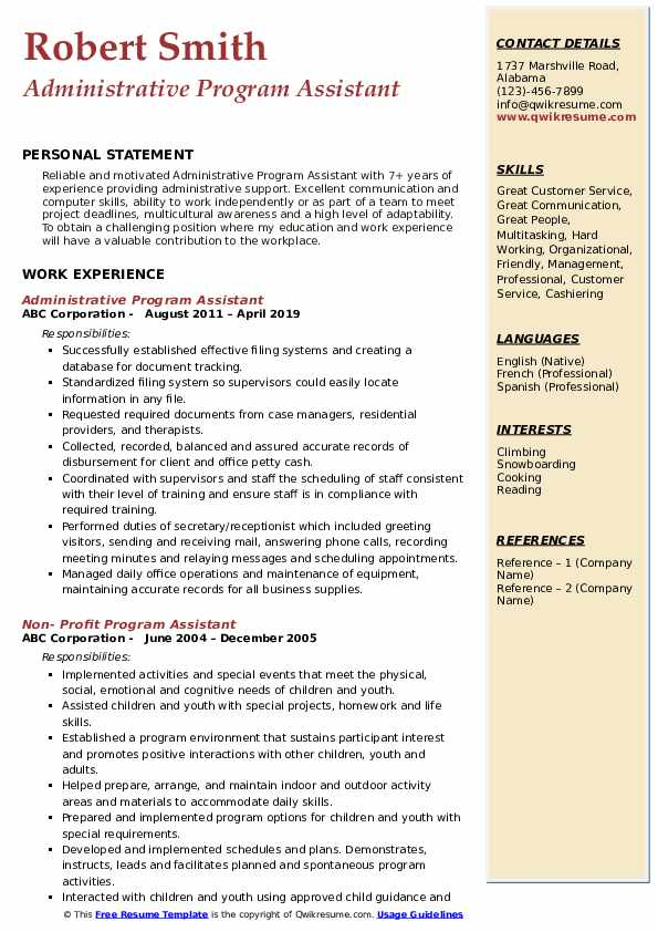 Administrative Program Assistant Resume Format