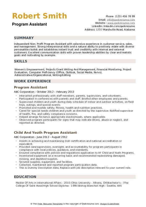 Program Assistant Resume example
