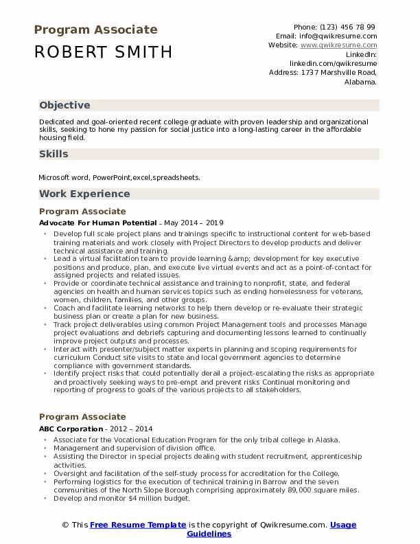 Program Associate Resume Template