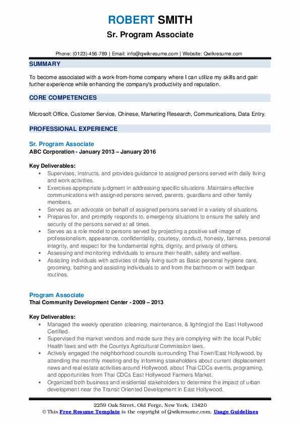 Sr. Program Associate Resume Example
