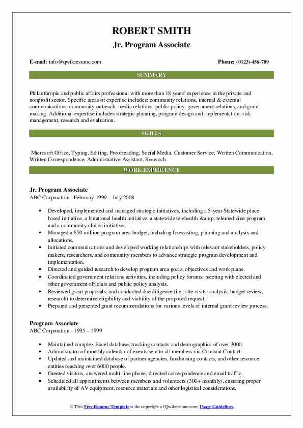 Jr. Program Associate Resume Model