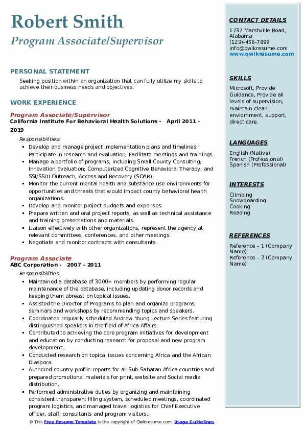 Program Associate/Supervisor Resume Model