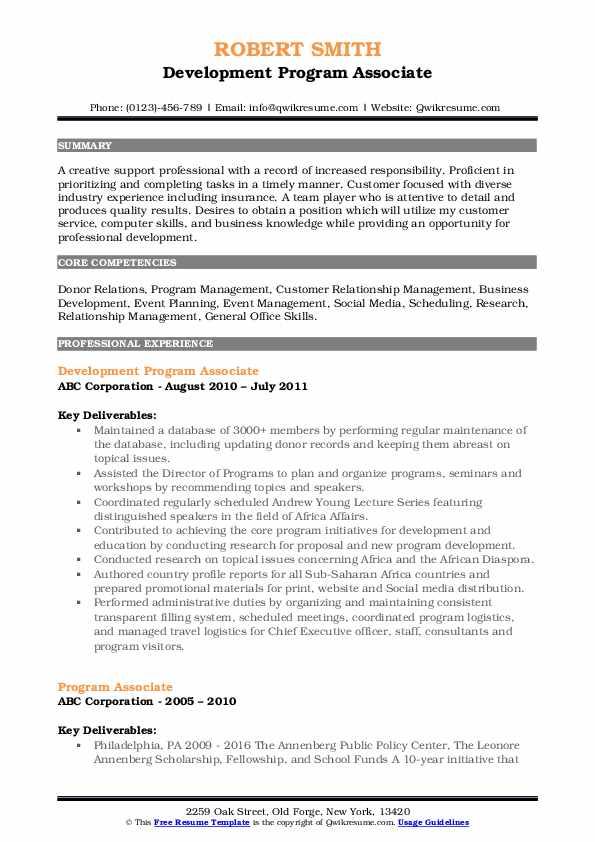 Development Program Associate Resume Template