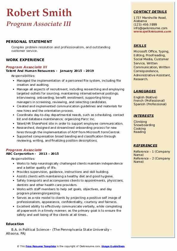 Program Associate III Resume Model