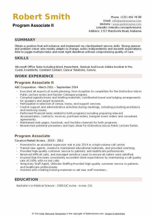 Program Associate II Resume Example