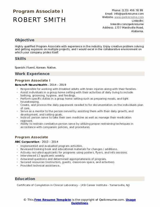 Program Associate I Resume Model