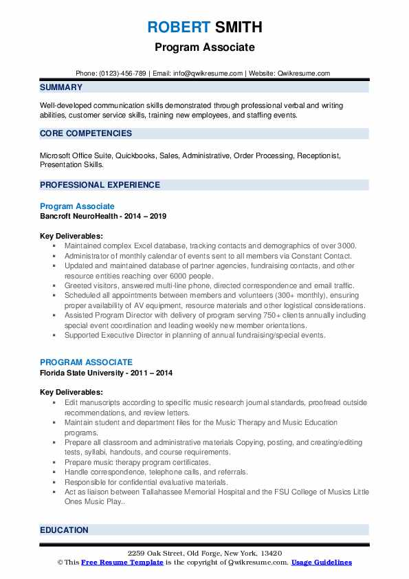 Program Associate Resume example
