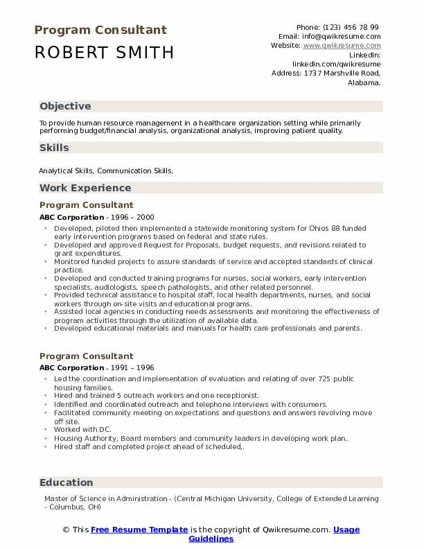 Program consultant resume phd thesis table of contents guide