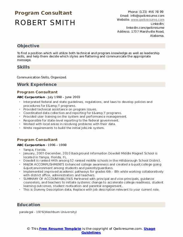 Program Consultant Resume example