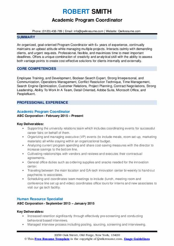 Program Coordinator Resume Samples | QwikResume