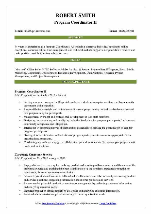 Program Coordinator II Resume Sample